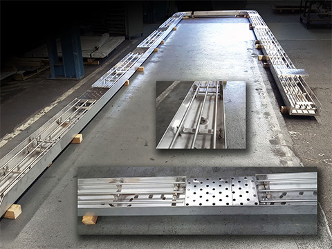 Stainless watertight trough with rails